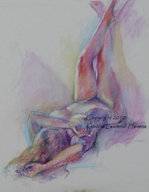 Watercolor Drawing of Female Model, Legs Raised Colorful Open Edition Print -