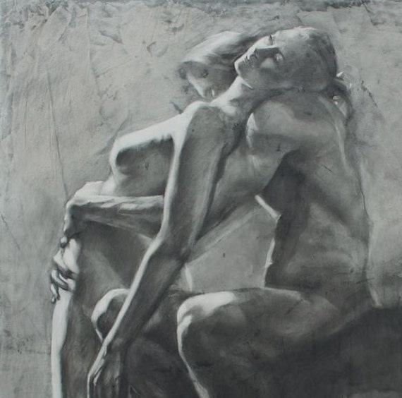 """Drawing of a Couple - """"Moment of Surrender"""" - Large Archival Fine Art Print"""