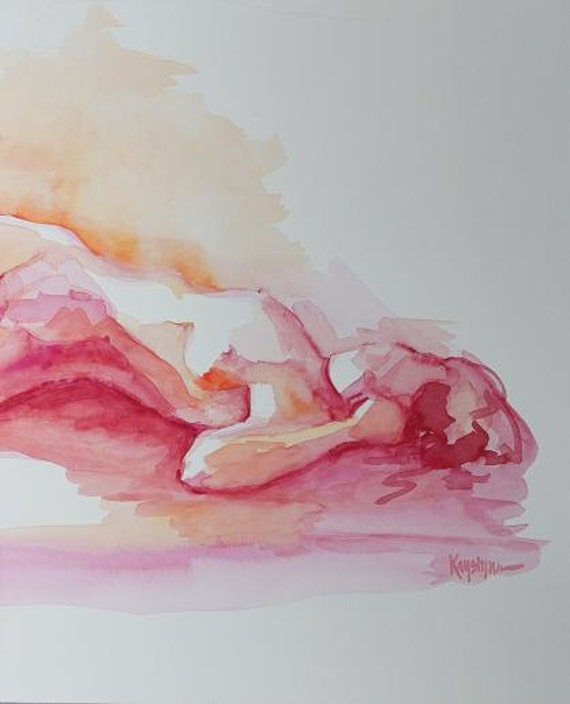 Original Watercolor Painting of Reclining Female Nude in Citrus Colors - Figure Art