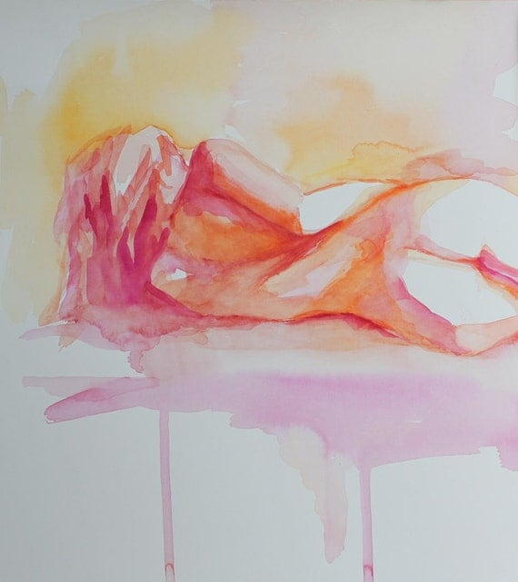 Nude Reclining Female in Citrus Colors Fine Art Print of a  Watercolor Figure Large Print