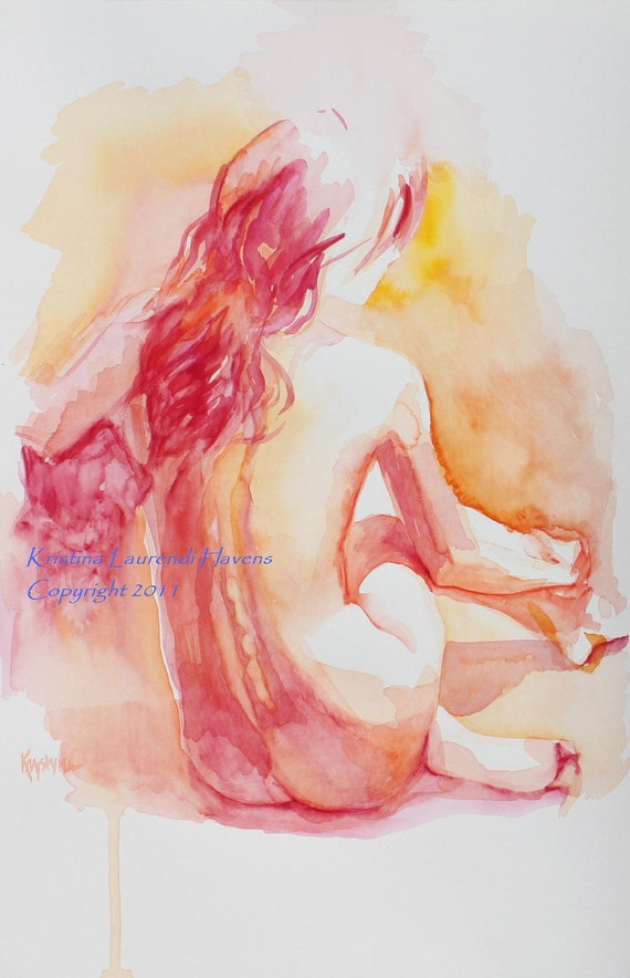 Art Reproduction of  Watercolor Painting of Female Nude in Red, Back View