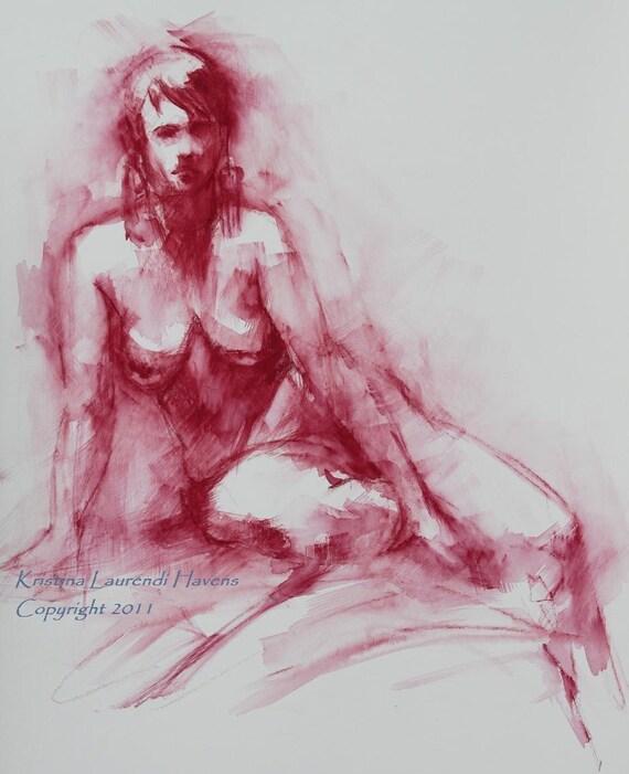 Watercolor Life Drawing of Nude in Dark Red Original Art Painting