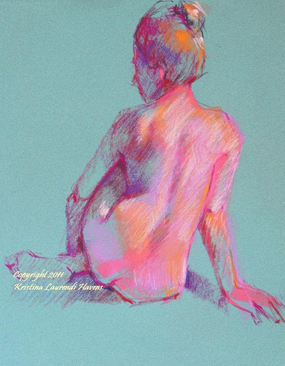 Classic Drawing of Nude Female Back with a Twist of Mint and Hot Pink Original Art