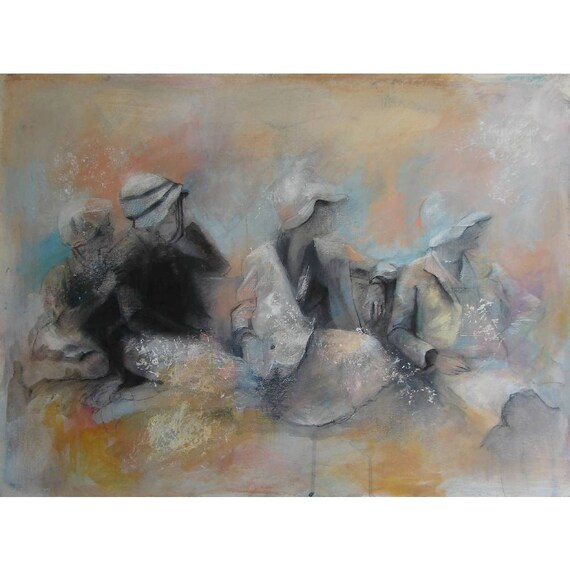 RESERVED for Laurie - Original Painting in Peach and Blue -Four Women in Vintage Hats - Fine Art - Beyond Our Vision -