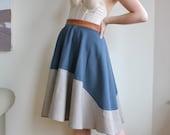 SIZE LARGE slate / oatmeal wool circle skirt
