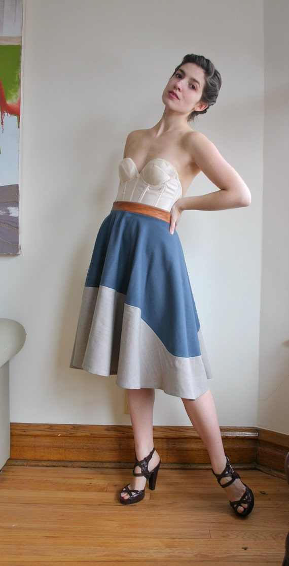 SIZE LARGE slate / oatmeal wool circle skirt