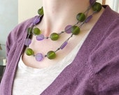 Purple and Green Resin Necklace
