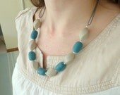 Big Beads Teal and Taupe Necklace