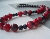 Red Jade and Blue Goldstone Necklace