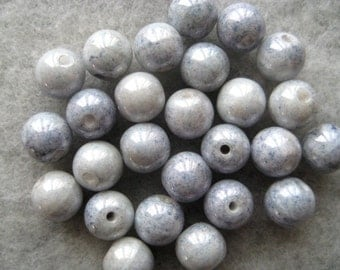 10 Sky Blue Pearlized Beads 6mm