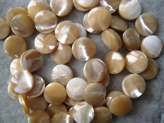 10 Mother of Pearl Shell Beads 15mm 1 strand