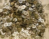 """Mother of Pearl vintage MOP buttons--1/2 LB. 4 holes 1/2"""" mossy green antique"""