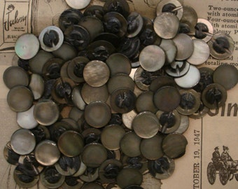 "Vintage Mother of Pearl  buttons black iridescent 1/2"" self shank NOS 100 antique USA 1940s"