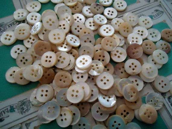 Vintage Mother of Pearl MOP antique BUTTONS new old stock 100 buttons golden