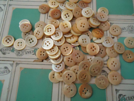 """Vintage Mother of Pearl MOP antique BUTTONS new old stock 90 buttons 1/2"""" golden"""