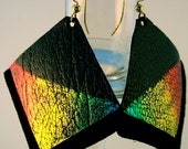 Painted Square Leather Rasta Earrings On Black Suede