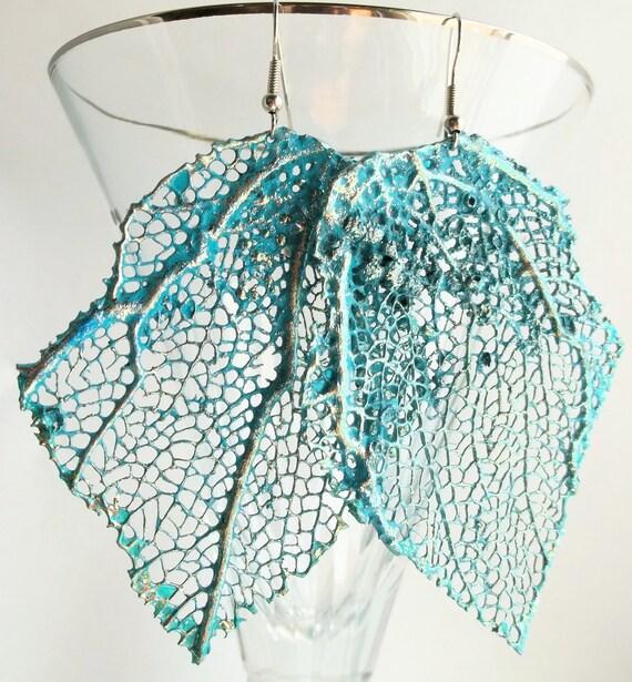 Turquoise Glittered Fan Coral Earrings