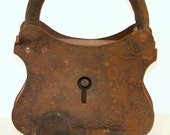 Antique Padlock and Key, Cast Iron and Steel, Antique