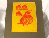 Mid Century Woodblock Print Signed Quail Beverly Hackett