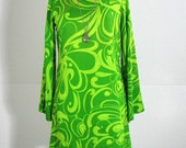 1960s Psychadelic Lime Swirl Party Dress, Vibrant Green