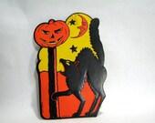 FALL SALE 1930s Beistle's/Luhrs Halloween Black Cat w/ Jack O Lantern Die Cut Decoration
