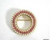Weiss Pink Rhinestone & Pearl Brooch Vintage Pin