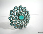 Vintage Clip for Scarf or Belt,  Aqua Glass Stones