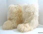 Furry Tall Yeti Boots, 1960s, Size 11, Large, Long Goat Hair Fur, Vintage