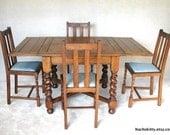 English Pub Table & Four Chairs, Adjustable