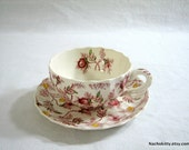 Spode Rosebud Chintz Tea Cups & Saucers, Option to Buy 1 or All, Vintage