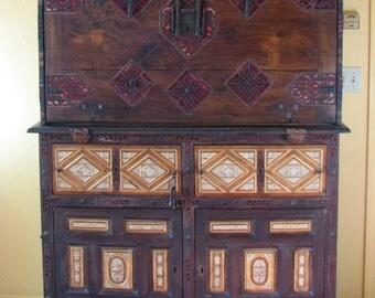 17th Century Spanish Vargueno Upper & Bottom Cabinets, Bone, Velvet, Iron ,Wood