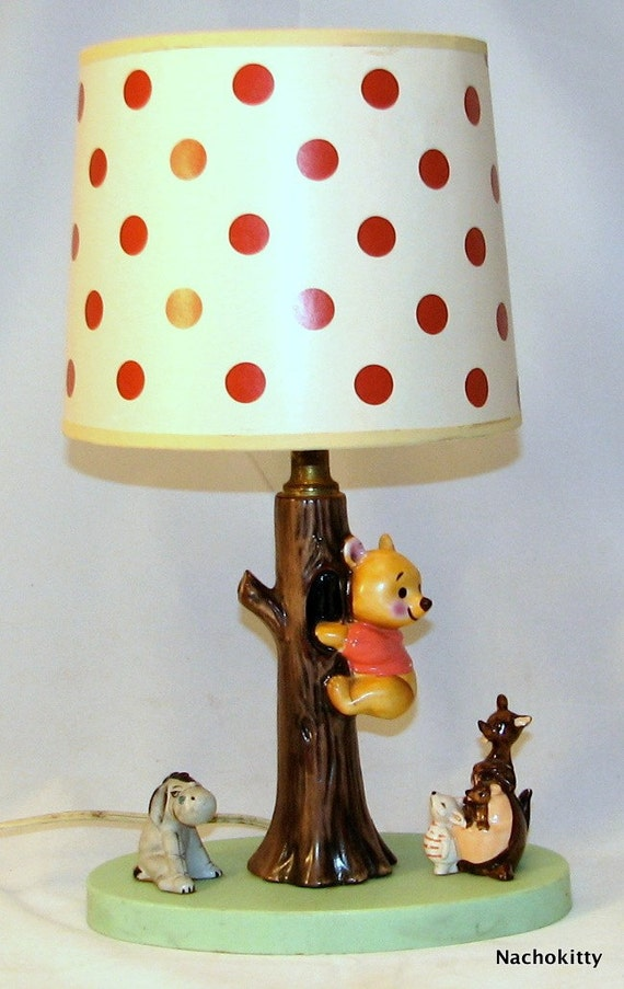 Vintage Winnie The Pooh Lamp Ceramic Original Shade By