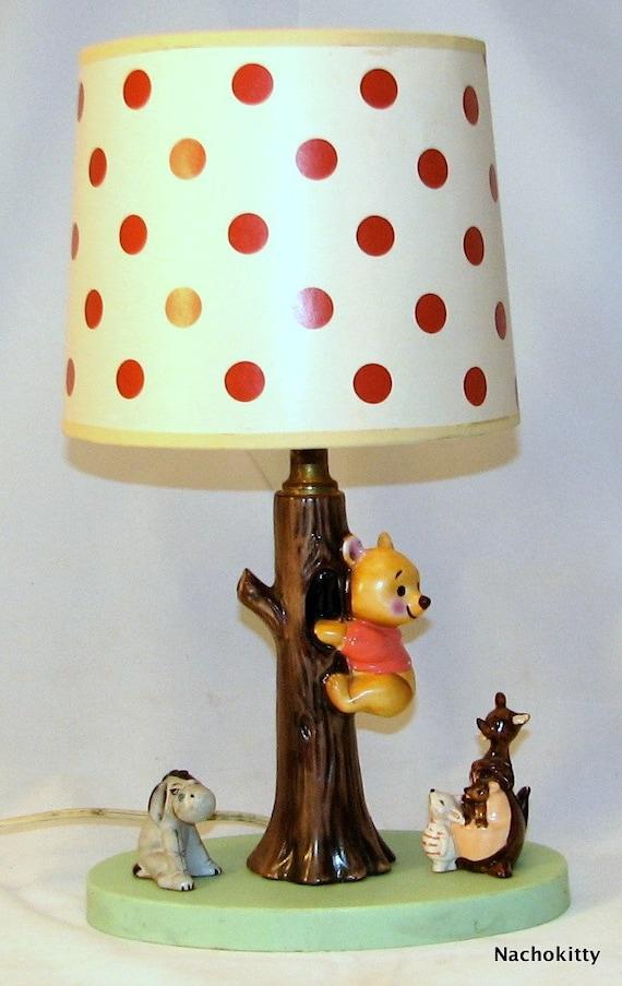 Vintage Winnie The Pooh Lamp Ceramic Original By Barnowlgoods
