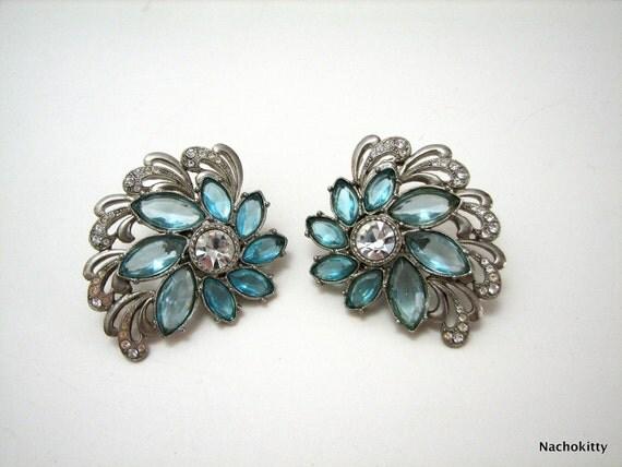 1940s Earrings Vintage Blue Rhinestones & Diamonds, Gorgeous