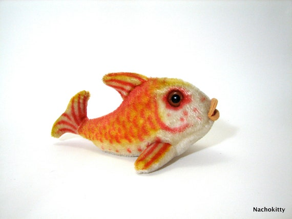 Steiff Flossy Fish, Stuffed Orange Vintage Mohair 1960s