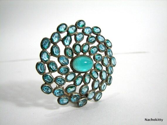 Vintage Clip for Scarf or Belt,  Aqua Glass Stones