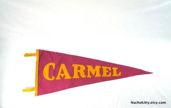 Vintage Carmel, CA Souvenir Wall Pennant, Felt 1930s