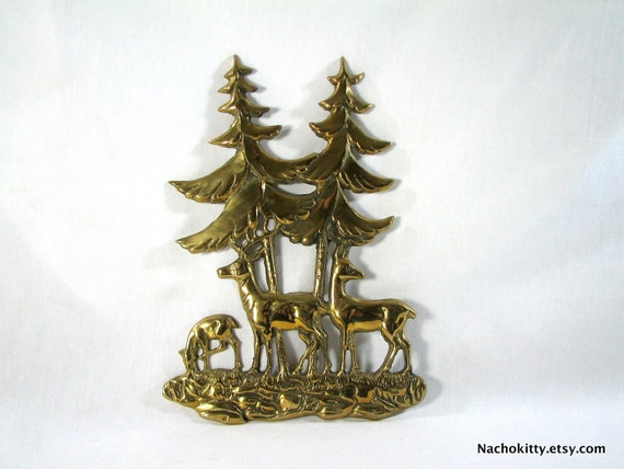 Family of Deer Brass Wall Hanging, 1950s Kitsch