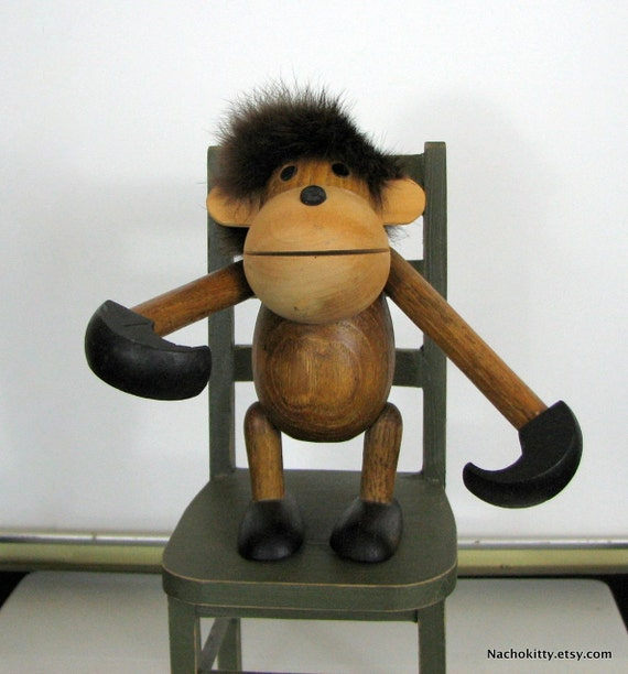 Danish Modern Kay Bojesen Monkey Hanging with Fur