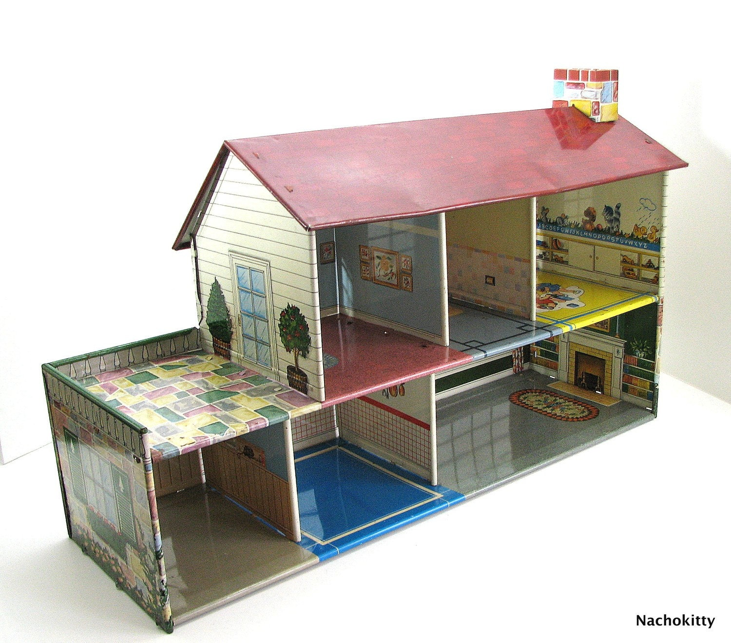 Delightful Vintage Dollhouse Metal Great Graphics By Barnowlgoods