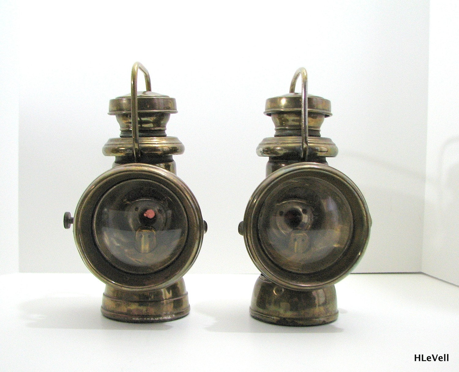 Antique Brass Car Headlights : Duco head lamps car pre war i antique lights by