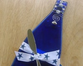 Dallas  Cowboys Slumped Wine Bottle Cheese or Trinket Tray with Glass and Stone Beads