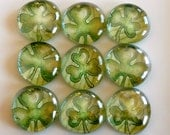 Glass Marble Magnets - Kelly Shamrocks (FREE SHIP)