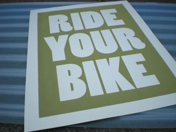 Green Ride Your Bike Poster