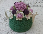 Tea Cosy Tea Cozy Teacosy Teacozy Cosy Cozy Crochet Green with Dusty Pink and magenta flowers (Made to order)