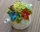 Tea Cosy Tea Cozy Teacosy Teacozy Cosy Cozy Crochet Cream with flowers (Made to order)