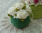 2-Cup Crochet Tea Cosy/Cosie/Cozy - Green with White Roses (Made to order)