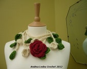 Lariat Scarf Necklace in Crochet with a Red Rose and Green and Cream Leaves (Made to order)