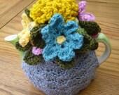 Crochet Tea Cosy Tea Cozy Teacosy Teacozy Cosy/ Cozy - Grey with Flowers (Made to order)