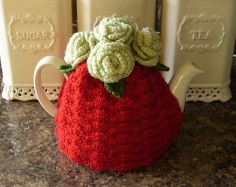 Tea Cosy Tea Cozy  Teacosy Teacozy Cosy Cozy Crochet Red and Pale Green with Roses Valentine  (Made to order)